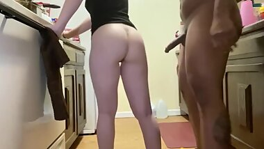 White girl takes bbc while in kitchen and creampie