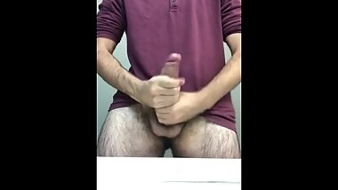 Two handed cumshot from big dick