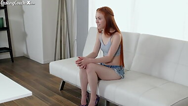 Casting couch, redhead girl has sex in a car