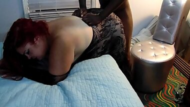 Hotwife in Black Bodystocking Taking Black Cock from Behind Hotwife Liz