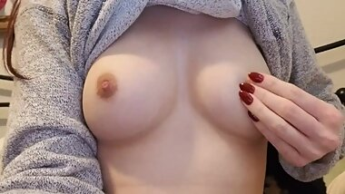 Petite Redhead, 5'1. 99 Pounds, Playing with her 32C Boobs