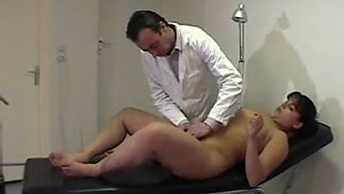 Chubby girl stripped naked and spanked by doctorHJ