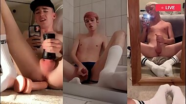 Hot guys wank and cum in white socks together