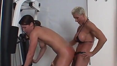 Goddess Heather hard fucks Viveca Strong with a strap on